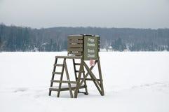 Scena della spiaggia dello Snowy Immagine Stock