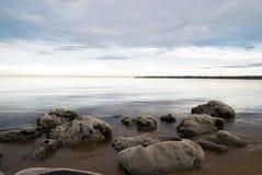 Scena della spiaggia di mattina Fotografie Stock Libere da Diritti