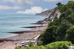 Scena della spiaggia a sud dell'Inghilterra Fotografia Stock Libera da Diritti