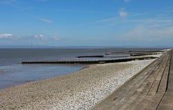 Scena della spiaggia, vicino a Silloth, Cumbria, distretto del lago fotografie stock