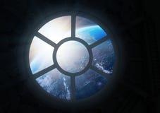 Scena della stazione spaziale Porthole Immagini Stock Libere da Diritti