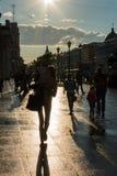 Scena della via con la gente che cammina lungo il viale in St Peter Fotografie Stock Libere da Diritti