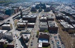 Scena della via di Seattle dall'aria Fotografia Stock Libera da Diritti