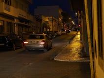 Scena della via a Faro Portogallo al crepuscolo Fotografia Stock Libera da Diritti