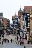 Scena della via principale di Chester Fotografia Stock