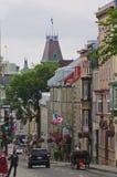 Scena della via su vecchio Quebec City Fotografia Stock Libera da Diritti