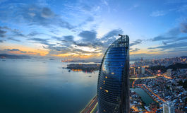 Scena delle torri gemelle di Xiamen Shimao Petronas, Cina fotografia stock
