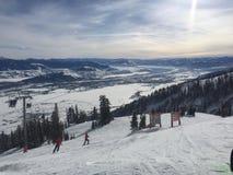Scena dello sci in Jackson Hole Fotografia Stock Libera da Diritti