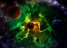 Scena dello spazio con i pianeti e la nebulosa illustrazione di stock