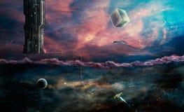 Scena dello spazio Due stranieri dei mondi e nostro Elementi ammobiliati da Na illustrazione vettoriale