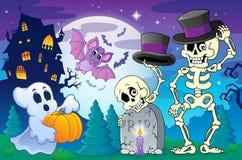 Scena 5 di argomento di Halloween royalty illustrazione gratis