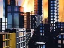 Scena di Armageddon in città illustrazione di stock