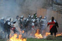 Scena di battaglia medioevale Fotografia Stock