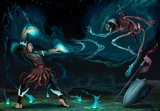 Scena di combattimento fra il mago e lo scheletro illustrazione di stock