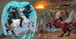Scena di combattimento fra l'elfo ed il centauro scuri Fotografie Stock Libere da Diritti
