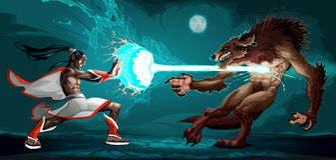 Scena di combattimento fra l'elfo ed il lupo mannaro Fotografia Stock