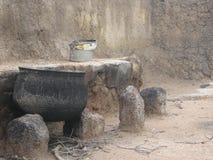 Scena di cottura domestica africana Fotografie Stock Libere da Diritti
