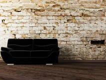 Scena di disegno interno con il sofà nero Fotografia Stock