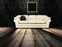 Scena di disegno interno con un sofà Immagine Stock