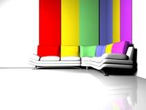 Scena di disegno interno con un sofà bianco Fotografia Stock Libera da Diritti