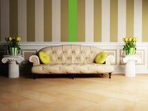 Scena di disegno interno con un sofà classico Fotografie Stock Libere da Diritti