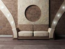 Scena di disegno interno con un sofà piacevole Immagine Stock