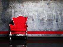 Scena di disegno interno con una retro poltrona rossa Fotografia Stock