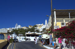 Scena di estate da Pyrgos, Santorini Fotografia Stock Libera da Diritti