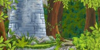 Scena di estate del fumetto con il percorso nella foresta - nessuno sulla scena fotografia stock