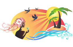 Scena di estate, tramonto di sorveglianza della ragazza alla spiaggia illustrazione di stock