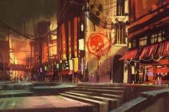 Scena di fantascienza che mostra strada dei negozi, paesaggio urbano futuristico royalty illustrazione gratis