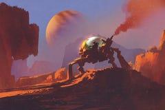 Scena di fantascienza dell'uomo nel veicolo robot sul pianeta rosso Fotografie Stock