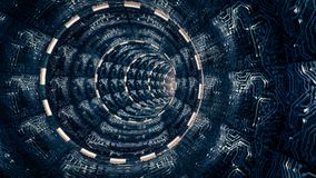 Scena di fantasia del tunnel artificiale dello spazio Tema della fantascienza, illustrazione vettoriale