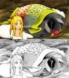 Scena di fiaba del fumetto - pagina di coloritura - illustrazione per i bambini Immagine Stock