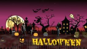 Scena di Halloween di animazione del fumetto con testo animato Halloween video d archivio