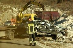 Scena di incidente di incidente stradale nel Montenegro Fotografia Stock Libera da Diritti