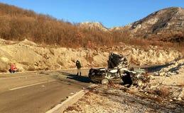 Scena di incidente di incidente stradale nel Montenegro Immagini Stock