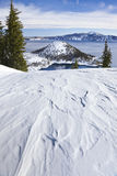 Scena di inverno al vulcano del lago crater Fotografie Stock
