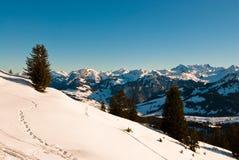 Scena di inverno in alpi svizzere Immagine Stock Libera da Diritti