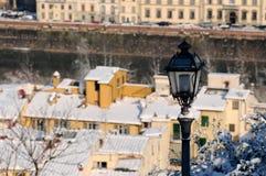 Scena di inverno a belvedere di Firenze, Mura di Cinta Forte Fotografie Stock Libere da Diritti