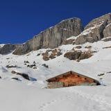 Scena di inverno in Braunwald, alpi svizzere Immagini Stock