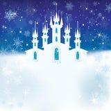 Scena di inverno con il castello del ghiaccio illustrazione di stock