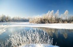 Scena di inverno con il fondo del fiume Fotografie Stock