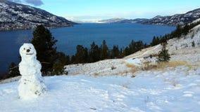 Scena di inverno con la vista ed il pupazzo di neve del lago Immagini Stock