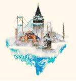 scena di inverno della città di Costantinopoli royalty illustrazione gratis