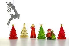 Scena di inverno delle figurine della resina Fotografia Stock