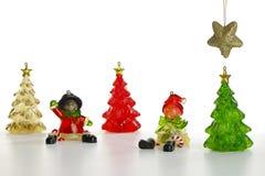 Scena di inverno delle figurine della resina Fotografia Stock Libera da Diritti
