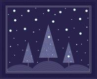 Scena di inverno di notte Immagine Stock