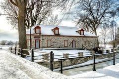Scena di inverno di Snowy del fiume Fotografie Stock