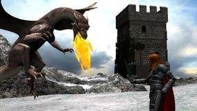 Scena di inverno di un cavaliere coraggioso Fighting con un drago Fotografia Stock